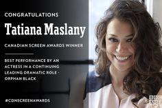 Congratulations to @tatianamaslany for her @TheCdnAcademy win tonight! #OrphanBlack #CdnScreenAwards - 12 March 2017