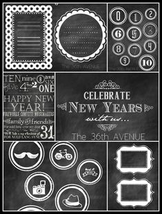 Free Chalkboard Party Printables: name tags, invites, food labels, photo booth props... So cute!!
