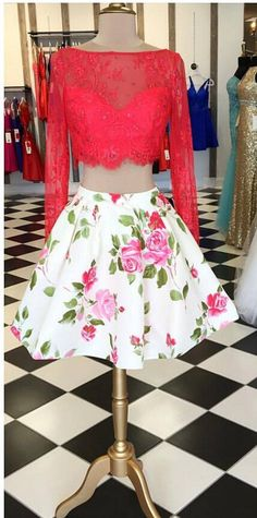 Glamorous Two Piece Open Back Long Sleeves Floral Short Homecoming Dress Beaded…