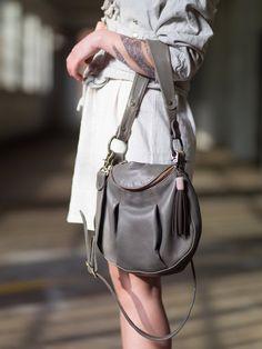 Grey Leather Handbag- made to order bag- pleated leather bag- grey leather bag- littlewings designs- crossbody leather bag