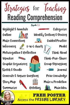 to to access the FREEBIE LIBRARY of secondary ELA resources for this poster of reading comprehension strategies and MORE! Reading Comprehension Strategies, Reading Resources, Teaching Strategies, Reading Activities, Teacher Resources, Comprehension Questions, Reading Intervention Strategies, Reading Strategies Posters, Comprehension Exercises