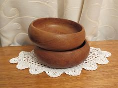 Vintage 1960s 1970s Teak Wooden Snack Bowls by ASmallFortune, $18.00