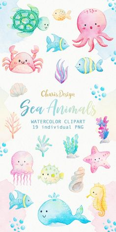 Meerestiere Aquarell Clipart Ocean Seaweed Unterwasser Fische Seesterne Meer Nautik Unterwasser Aquarium Babyshower Alge in 2020 Animals Watercolor, Watercolor Clipart, Watercolor Sea, Watercolor Illustration, Watercolor Paintings, Sea Animals Drawings, Drawing Animals, Zoo Drawing, Drawing Ideas