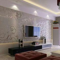 Modern Living Room Wallpaper Ideas - Room Design Ideas - Ethel's Home Page Room Wallpaper Designs, Wallpaper Decor, Home Wallpaper, Livingroom Wallpaper Ideas, Wallpaper For Walls, Accent Wallpaper, Silver Wallpaper, Interior Wallpaper, Bedroom Wallpaper