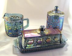 Blue carnival sugar creamer and butter dish retro by vicvam, $55.00