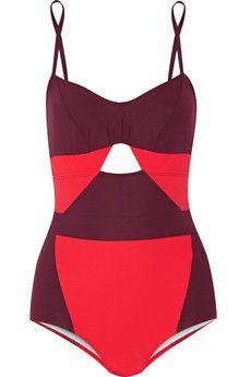 Flagpole Swim Joellen cutout two-tone swimsuit | NET-A-PORTER