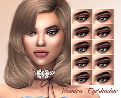 "kenzar-sims: "" Veronica Eyeshadow • 10 swatches • Found in lipstick • Works with Hq.Pictures took WITHOUT HQ. • Hope you like it ! • Tag me if you use it ! Download at my blog ! """