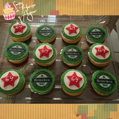 Heineken cupcakes Adult Birthday Cakes, Birthday Cupcakes, 40th Birthday, Birthday Ideas, Beer Bottle Cake, Children Activities, Fun Cookies, Fun Gifts, Cake Pops