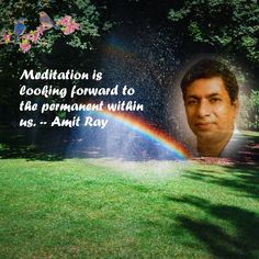 """Meditation is looking forward to the permanent within us."""" — Amit Ray You cannot measure it or explain it. It is not logical or rational, but it is true. Deep Meditation, Looking Forward"""