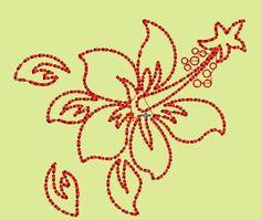 Bordado de hojas de flor
