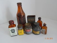 Antique Amber & Clear Bottle Lot Soldax, Waterman's Ink with Label, Lily White
