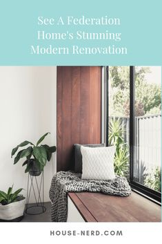 The modern windowseat is a beautiful feature of the renovation. A Federation House Renovation in Mount Lawley - House Nerd. Timber Window Frames, Timber Windows, Cosy Room, Living Area, Living Rooms, Australian Homes, Design Awards, How To Feel Beautiful, Home Renovation