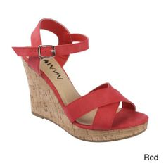 DIVIANA KEALIE-01 Women's Crisscross Wedge Sandals With Buckle Ankle Strap, Color:RED, Size:6 Diviana,http://www.amazon.com/dp/B00I0QDS5K/ref=cm_sw_r_pi_dp_DWzttb08XFBWDW8Z