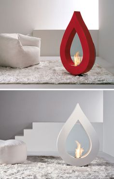 Warm Up Your Life With These 13 Freestanding Fireplace Designs // The unique shape of this portable freestanding fireplace allows it to be enjoyed as an artistic sculptural piece when the fire isn't turned on.