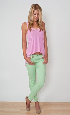 light green skinny jeans  #mykembrelstyle  TRACTR - 5 POCKET SKINNY JEANS - GREEN  Regular retail: $82.00  Extra 20% off for VIP