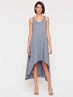 Scoop Neck Racer-Back Calf-Length Dress in Airy Organic Cotton Chambray $298.00