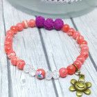 Gemstone, Hippie Flower, Boho, Bohemian, Bead Bracelet, Diffuser, Pink