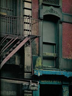 New York City Vintage Close Up Of Old Buildings by Christian Montone, via… Vintage New York, Robert Doisneau, New York Street, New York City, Creation Photo, Little Shop Of Horrors, Fire Escape, Green Street, Urban City