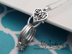 EMT Heart Wedding band / Engagement Ring & Charm Holding Necklace / Holder Pendant by AloraLocks,