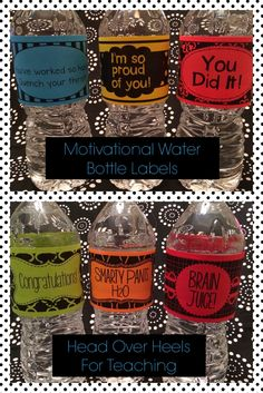 Spark Student Motivation: Motivational Water Bottle Labels-reward your students with a healthy incentive!