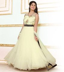 Cream Color Net Semi-stitched Designer Gown For Wedding : Rajkumari Collection YF-33393