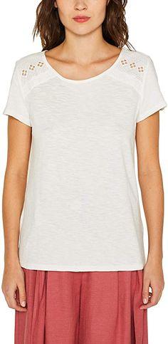 Modernes T-Shirt von edc by ESPRIT  -. T-Shirt mit femininer Spitze an den Schultern Mit weichem Flammgarn Kragenform: Rundhals Kurzarm 100% Baumwolle Regular Fit Pflegehinweis: Maschinenwäsche warm (40° +) Modellnummer: 049CC1K024  Bekleidung, Damen, Tops, T-Shirts & Blusen, T-Shirts Edc By Esprit, Shirt Bluse, T Shirts, Fit, Tops, Fashion, Lace, Summer, Scale Model