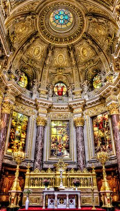 Berlin Dom Berlin, Germany-Inside the The Berlin Cathedral, the largest church in Berlin, sees itself as a central place of the Evangelical Church in Germany. Church Architecture, Beautiful Architecture, Beautiful Buildings, Oh The Places You'll Go, Places To Travel, Places To Visit, Beautiful World, Beautiful Places, Voyage Europe