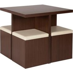 Hygena Boston Spacesaver Table and 4 Chairs - Walnut. from Homebase.co.uk