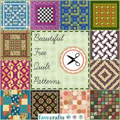 38 Free Quilt Patterns--Wonderful collection of quilting tutorials, great for sewists of all skill levels.