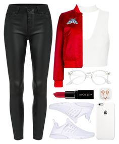 """Red Today"" by direction-of-the-summer ❤ liked on Polyvore featuring Carven, NIKE, Smashbox, claire's, red and Polyvorer"