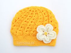 Yellow Baby Beanie, Yellow Crochet Baby Hat, Size: 3 - 6 Mo, READY TO SHIP