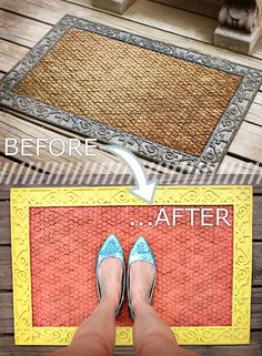 DIY painted door mat. I would not choose this color, but I guess that's the beauty. Anybody can choose the color they like.
