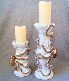 Octopus Candlesticks Ceramic Sculpture / Sold Separately: Beach Decor, Coastal Home Decor, Nautical Decor, Tropical Island Decor & Beach Cottage Furnishings