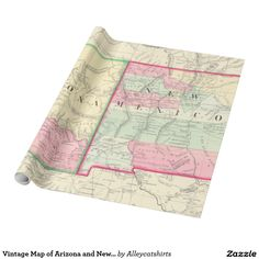 Vintage Map of Arizona and New Mexico (1867) Wrapping Paper