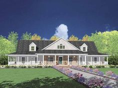 1-STORY: Eplans Farmhouse House Plan - Farmhouse with Porch for Entertainment - 3388 Square Feet and 4 Bedrooms from Eplans - House Plan Code HWEPL61697