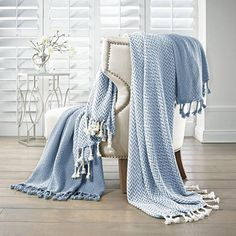 Monacco Denim (Blue) 2-Pack 100% Cotton Throws