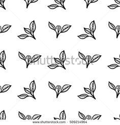 Tea leaves. Seamless pattern. Black simple hand drawing flush leaf. Vector illustration.
