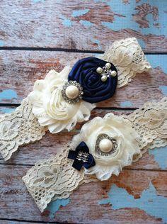wedding garter / NAVY BLUE  / bridal  garter/  lace garter / toss garter / Something BLue wedding  garter / vintage inspired lace garter. $24.99, via Etsy.