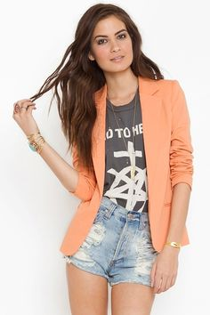 Love this Pastel Tangerine Boyfriend Blazer! Chic for Spring Summer- Roll the sleeves up for the perfect look! $78