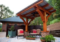 pergola with tin roof, two beams Pergola Attached To House, Deck With Pergola, Wooden Pergola, Outdoor Pergola, Pergola Plans, Pergola Kits, Outdoor Decor, Outdoor Bars, Pergola Ideas