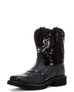 MSRP $104.95 OUR PRICE $99.95 The Justin Black Deercow Cowhide Boot is the perfect combination of function and fashion! Not only does this riding boot feature metal accents and intricately stitched de