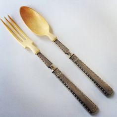 Antique French Silver & Ivory Salad Servers