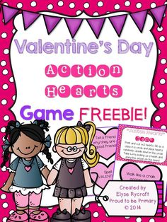 FREE printable Valentine's Day game activity called Action Hearts.