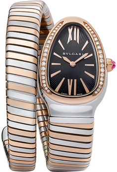 Bvlgari Serpenti 18ct Pink-Gold and Stainless Steel Watch