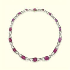 A Belle Époque ruby and diamond necklace, circa Ruby And Diamond Necklace, Ruby Necklace, Ruby Jewelry, Jewelery, Beaded Necklace, Beaded Bracelets, Edwardian Jewelry, Antique Jewelry, Vintage Jewelry