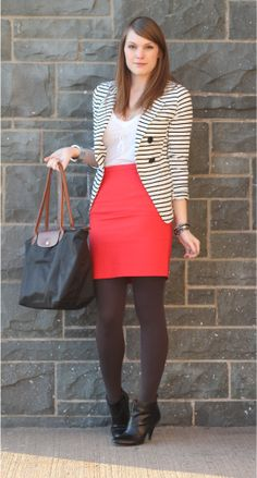 striped blazer, pinkish skirt, sheer tights. yes, yes and more yes.