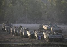 Israeli armored personnel carrier (APC) near the border with the Gaza Strip. Photo By: REUTERS