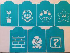 Mario Bros video game  cookie stencil  , cupcake , cake stencils set of 7