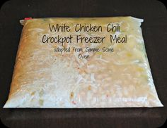White Chicken Chili freezer meal for Crockpot.  Plus Crockpot recipes for Honey Seseme Chicken, Casserole, Stuffed Pasta Shells & Chicken Taquitos.