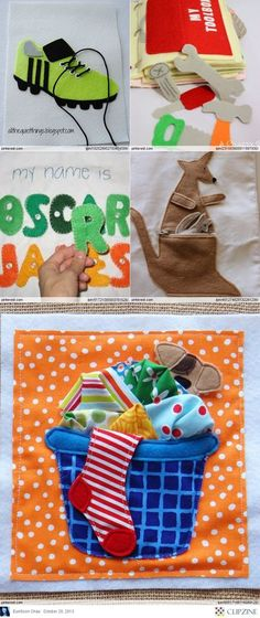 Quiet Book Patterns & Ideas. I like the idea of the letters matching up to the name... Maybe use Velcro too